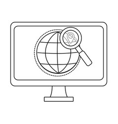 computer on internet in black and white vector image