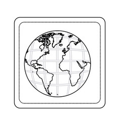 Contour map of the planet earth picture icon vector