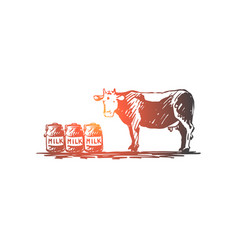 cow milk cheese farm organic concept vector image