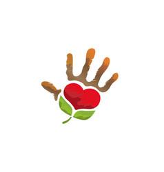 creative unique hand green heart logo vector image