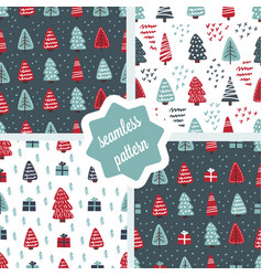 Cute christmas trees seamless pattern set vector