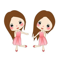 Cute Girl in Pink Dress Dancing vector image