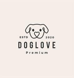 dog love hipster vintage logo icon vector image