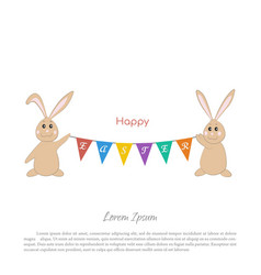 easter bunnies with a garland flags vector image
