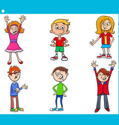 elementary age children characters cartoon set vector image