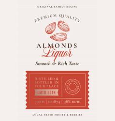 family recipe almonds liquor acohol label vector image