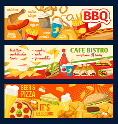 Fastfood burgers and sandwiches banners vector