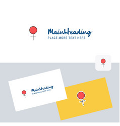 female logotype with business card template vector image