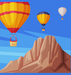 Floating hot air balloons in blue sky with vector