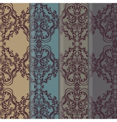 Floral damask ornament patterns set vector