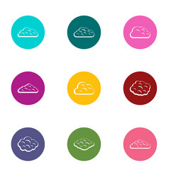 fog icons set flat style vector image