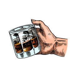 glass whiskey or scotch in hand cheers toast vector image