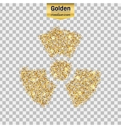 Gold glitter icon of radioactively isolated vector