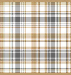 Gold gray white check fabric texture seamless vector
