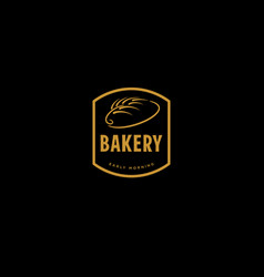 gold retro bakery badge vector image