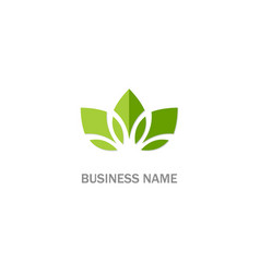 green leaf lotus organic flower logo vector image