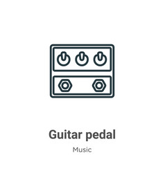 Guitar pedal outline icon thin line black guitar vector