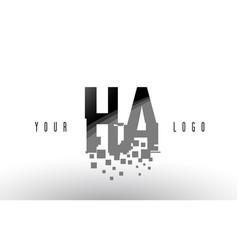 ha h a pixel letter logo with digital shattered vector image