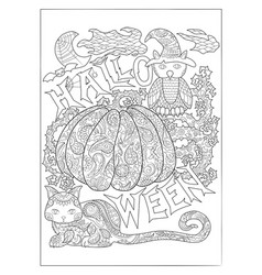 halloween coloring page with owl vector image