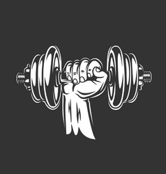hand holds a dumbbell vector image