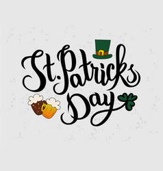 Hand sketched happy saint patricks day text vector