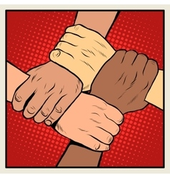 Handshake people of different nationalities and vector image