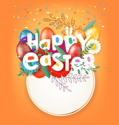 happy easter greeting card with circle frame vector image