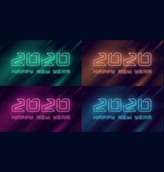 happy new year 2020 neon flashing design vector image