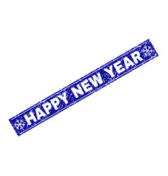 happy new year grunge rectangle stamp seal with vector image