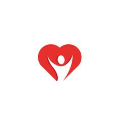 healthy heart person open hands inside logo vector image