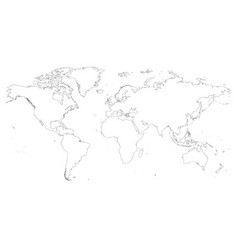 high detailed outline of world map simple thin vector image