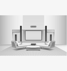 Home cinema interior in white tones vector
