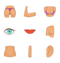 Human body part icons set cartoon style vector
