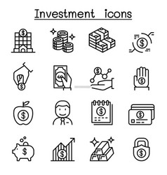 investment icon set in thin line style vector image