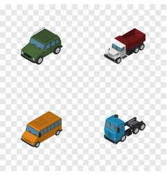 isometric automobile set of truck autobus vector image