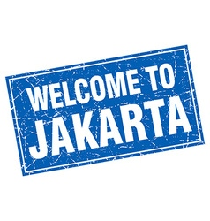 Jakarta blue square grunge welcome to stamp vector