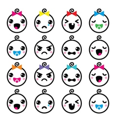 Kawaii baby boy and girl cute faces icons set vector