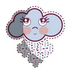 Kawaii raining cloud thinking with cute eyes vector