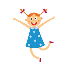 kid girl dances and jumps with happy expression vector image
