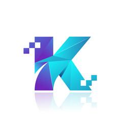 Letter k low-poly geometric logo design vector