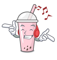 Listening music raspberry bubble tea character vector