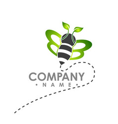 Logo abstract bee flying with green leaf wing logo vector