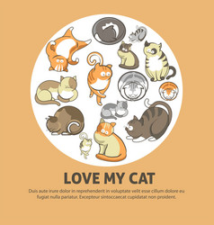 Love my cat promotional poster with cute pets vector