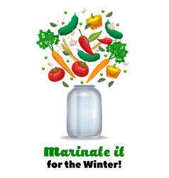 Marinate vegetables background composition vector
