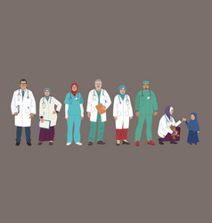 medical characters middle eastern medics arab vector image