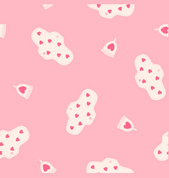 menstrual cups and pads seamless pattern vector image