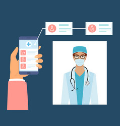 mobile phone screen with medical app female vector image