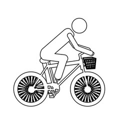 monochrome contour pictogram of man in sport bike vector image