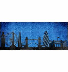 mosaic city in grunge blue background vector image