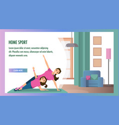 mother and daughter engaged fitness home interior vector image